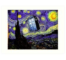 The Tardis in the Starry Night Art Print