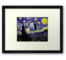 The Tardis in the Starry Night Framed Print