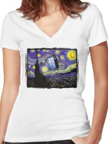 The Tardis in the Starry Night Women's Fitted V-Neck T-Shirt