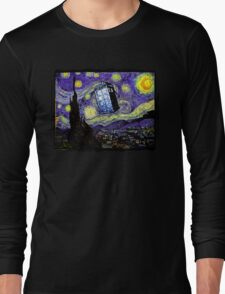 The Tardis in the Starry Night Long Sleeve T-Shirt