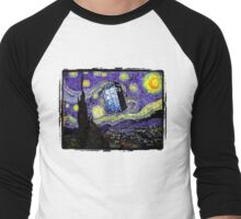 The Tardis in the Starry Night Men's Baseball ¾ T-Shirt