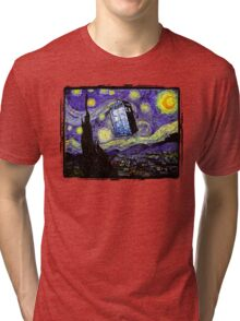 The Tardis in the Starry Night Tri-blend T-Shirt