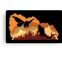 Godzilla versus Mothra cityscape Canvas Print