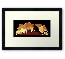 Godzilla versus King Kong cityscape Framed Print