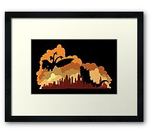 Godzilla versus Ghidorah cityscape Framed Print