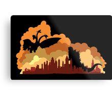 Godzilla versus Ghidorah cityscape Metal Print