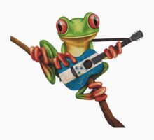 Tree Frog Playing Honduras Flag Guitar One Piece - Short Sleeve
