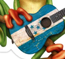 Tree Frog Playing Honduras Flag Guitar Sticker