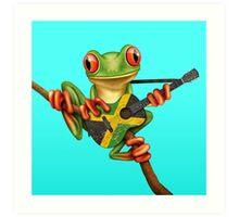 Tree Frog Playing Jamaican Flag Guitar Art Print