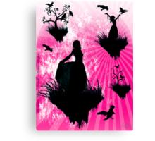 Raven Ladies in Pink Canvas Print