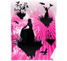 Raven Ladies in Pink Poster