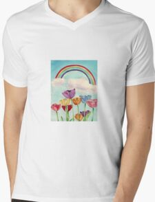 Tulips & Rainbows Mens V-Neck T-Shirt