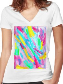 UNIQUENESS BLOOMS Women's Fitted V-Neck T-Shirt