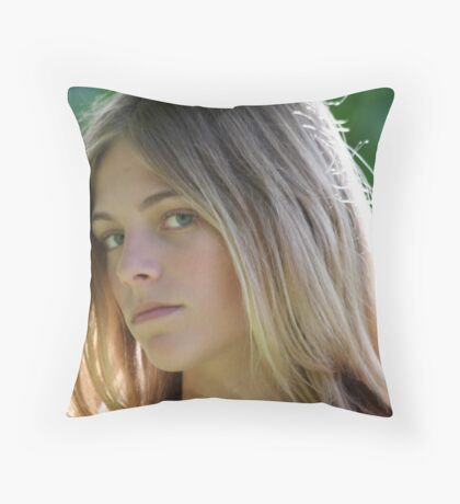 Portrait of a Young Girl #2 Throw Pillow