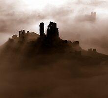 Corfe Castle, Dorset (Sepia) by davidbunting
