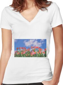 Tulips Galore Women's Fitted V-Neck T-Shirt