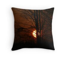 sunset dreary Throw Pillow