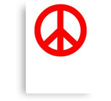 Red Peace Sign Symbol Canvas Print