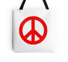Red Peace Sign Symbol Tote Bag