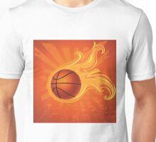 Fire Basketball Ball Background Unisex T-Shirt