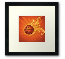 Fire Basketball Ball Background Framed Print
