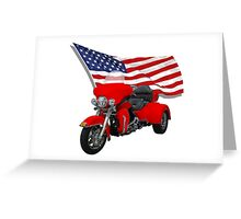 Trike with Ameircan Flag Greeting Card