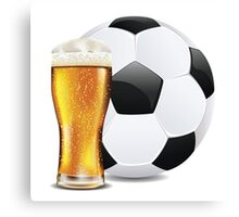 Beer and Soccer Ball Canvas Print