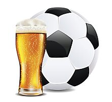 Beer and Soccer Ball Photographic Print