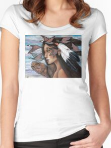 Sky Woman Iroquois Mother Goddess Women's Fitted Scoop T-Shirt