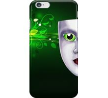 Mardi Gras mask with eyes on floral background iPhone Case/Skin