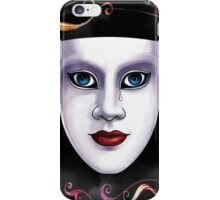 Mardi Gras mask with eyes and tear on floral background iPhone Case/Skin