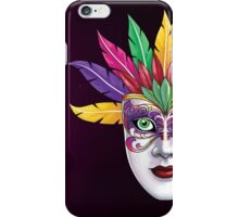 Mardi Gras mask with feathers and eyes on floral background iPhone Case/Skin