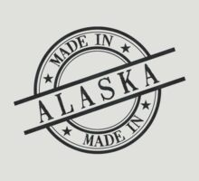 Made In Alaska Stamp Style Logo Symbol Black T-Shirt