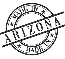 Made In Arizona Stamp Style Logo Symbol Black by surgedesigns