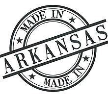 Made In Arkansas Stamp Style Logo Symbol Black by surgedesigns