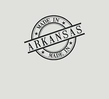 Made In Arkansas Stamp Style Logo Symbol Black Unisex T-Shirt