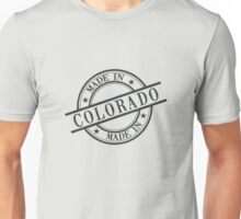 Made In Colorado Stamp Style Logo Symbol Black Unisex T-Shirt