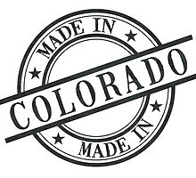 Made In Colorado Stamp Style Logo Symbol Black by surgedesigns