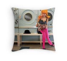 Helen at the Laundrette Throw Pillow