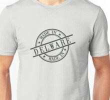 Made In Delaware Stamp Style Logo Symbol Black Unisex T-Shirt