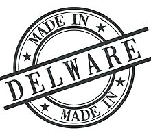 Made In Delaware Stamp Style Logo Symbol Black by surgedesigns