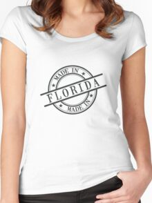 Made In Florida Stamp Style Logo Symbol Black Women's Fitted Scoop T-Shirt