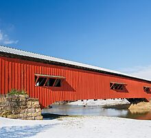 Bridgeton Covered Bridge at Christmas by Kenneth Keifer