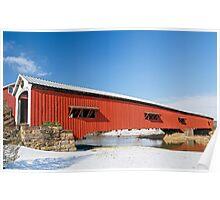 Bridgeton Covered Bridge at Christmas Poster