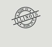 Made In Illinois Stamp Style Logo Symbol Black Unisex T-Shirt