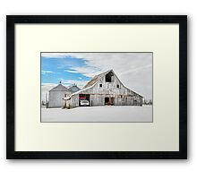 Winter White Barn Framed Print
