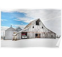 Winter White Barn Poster
