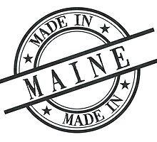 Made In Maine Stamp Style Logo Symbol Black by surgedesigns
