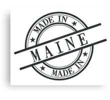 Made In Maine Stamp Style Logo Symbol Black Canvas Print