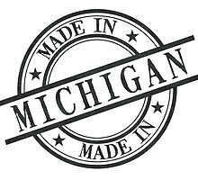 Made In Michigan Stamp Style Logo Symbol Black by surgedesigns